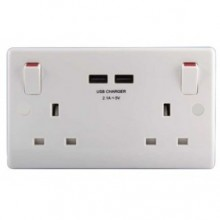 BG 822U-01 2G 13A DP SW SOCKET + USB WHITE